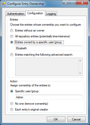 Configure Entry Ownership Utility
