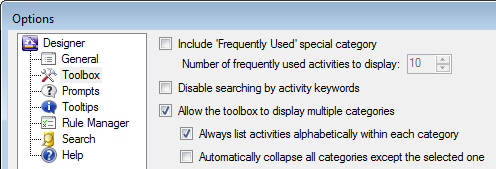 Toolbox Options Menu