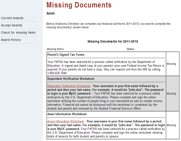 Missing Documents Field