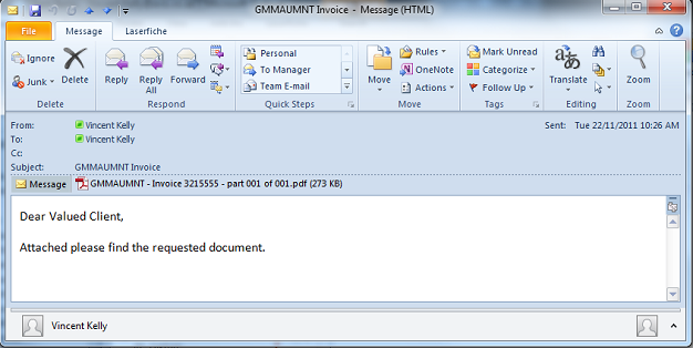 E-Mail Message Invoice