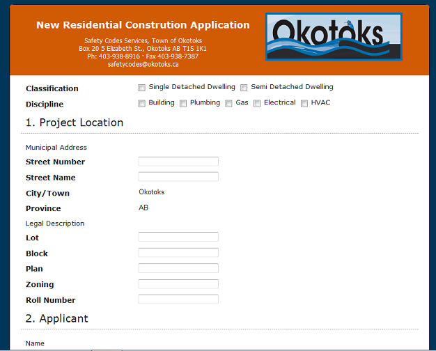 Okotoks Residential Construction Application