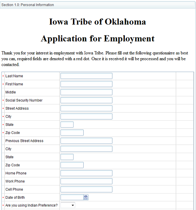 Employment Application<br />