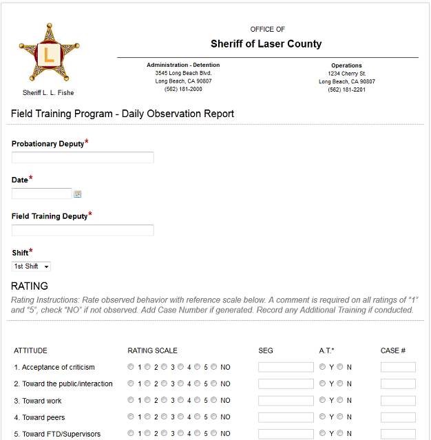 Sheriff Form Report
