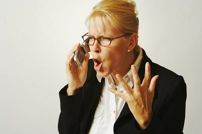 angry woman on cell phone