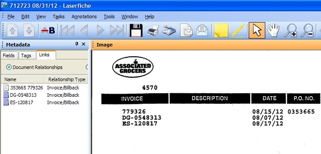 The links metadata pane on an Associated Grocers invoice.