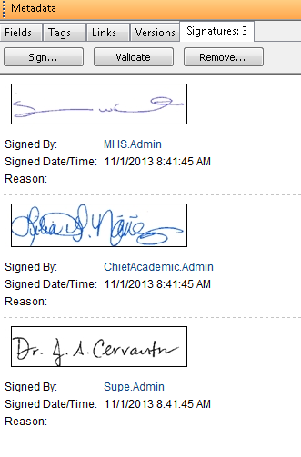 The Edgewood ISD Digital Signatures metadata pane.