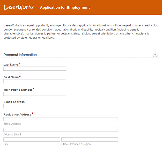 electronic form for job application