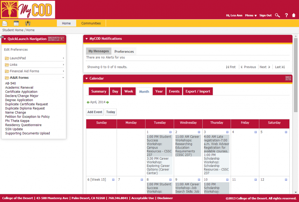 College of the Desert's online student portal.