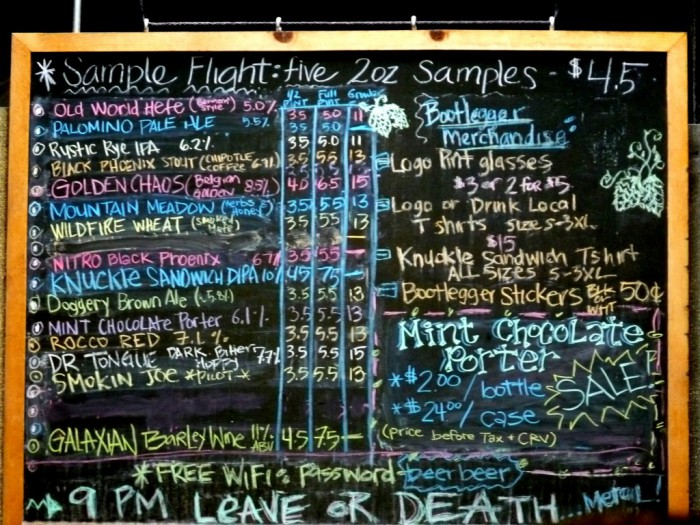 Beer menu at Bootlegger's Brewery.