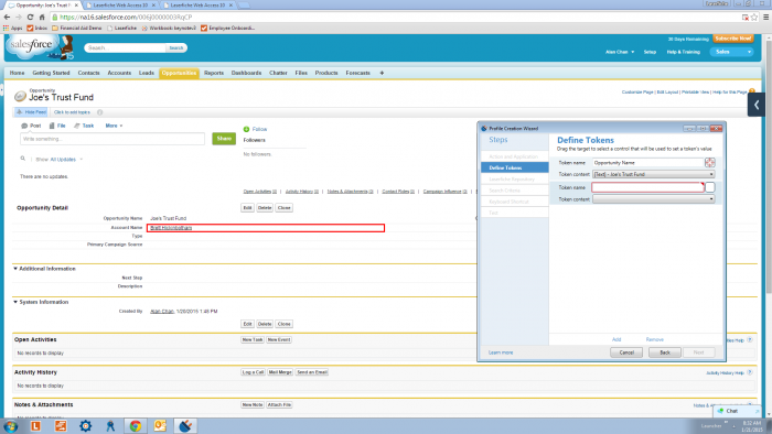 Setting up Laserfiche with SalesForce