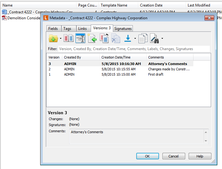 automatic versioning in an ECM system