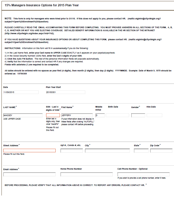 Employees fill out an electronic form