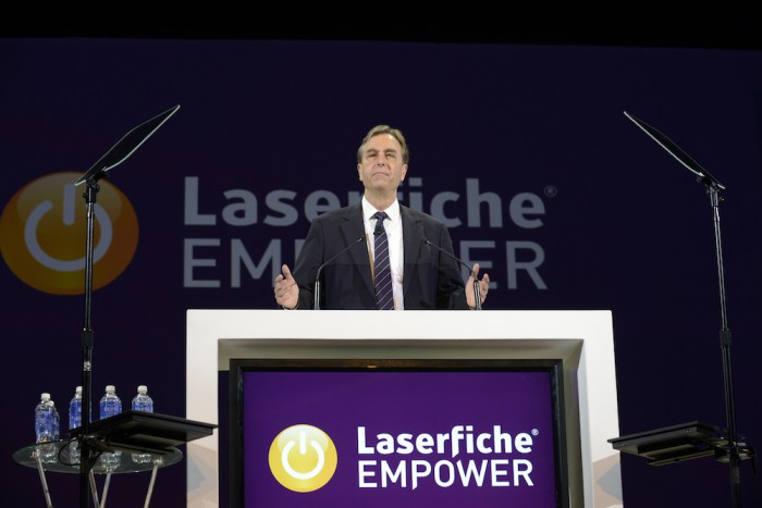 Laserfiche CEO Chris Wacker addresses a packed house at the Empower 2016 Day 1 General Session.
