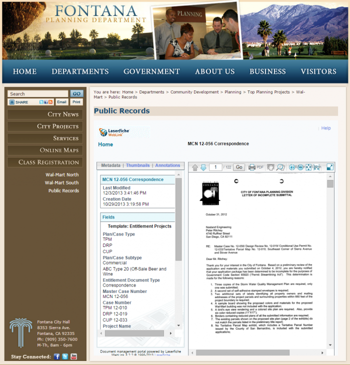 Fontana, CA's public document portal