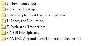 Transcripts are routed through a series of folders based on where they are in the evaluation process.