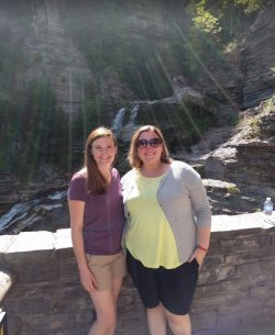 Katie Burke and Melissa Henley in front of Cayuga Lake in Ithaca, NY on their trip to visit #FicheFriends in the North East!