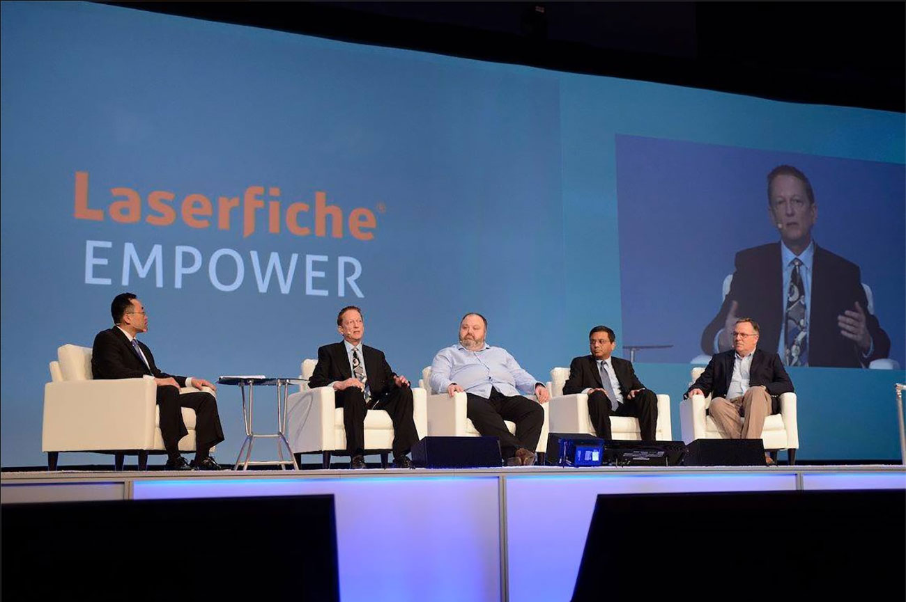Executive customer panel session on stage at Empower 2017