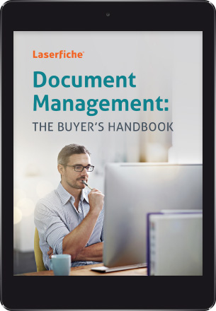 Tablet with the Laserfiche Document Management Buyer's Guide cover on screen.