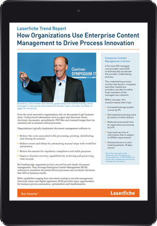 Tablet with the Laserfiche Business Process Automation e-Book cover on screen.