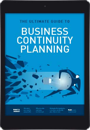 A tablet showing the cover of The Ultimate Guide to Business Continuity Planning eBook