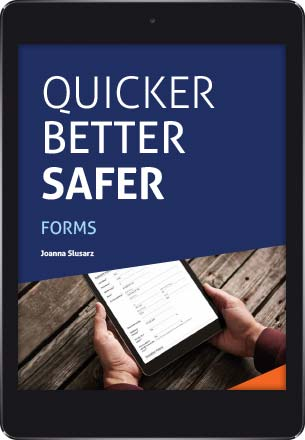 A tablet showing the cover of the Quicker Better Safer: Laserfiche Forms eBook