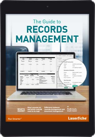 Tablet showing The Guide to Records Management e-Book