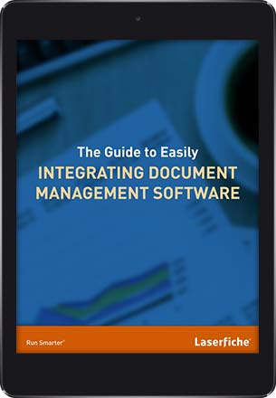 A tablet with the Laserfiche Guide to Integrating Document Management Software e-book