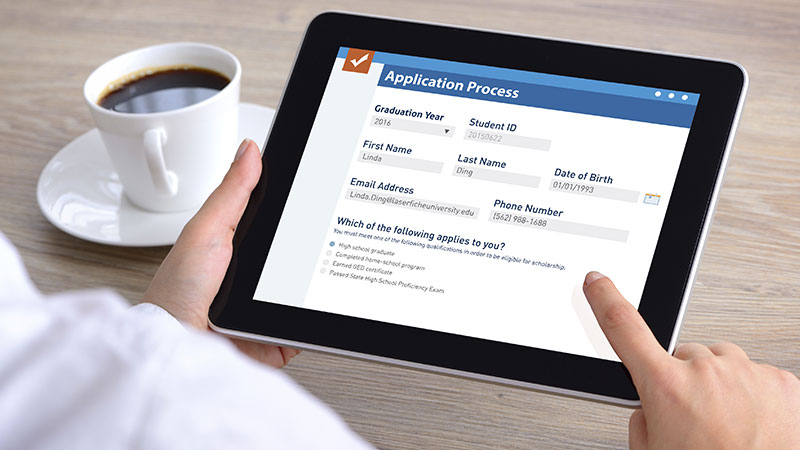 Laserfiche Electronic form on tablet screen