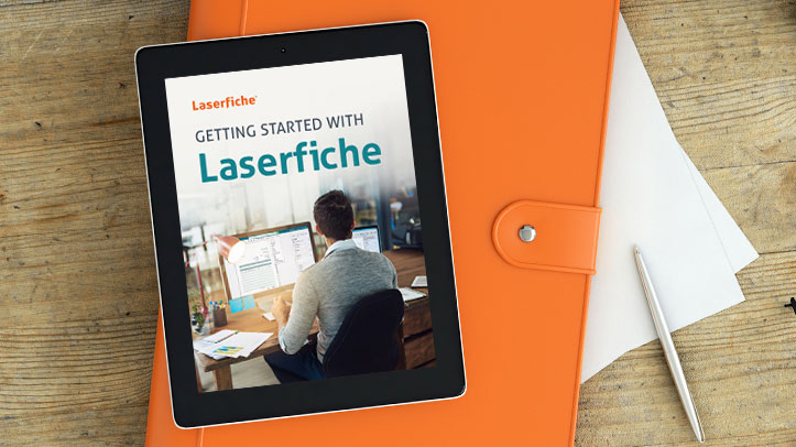 Getting Started with Laserfiche guide on tablet
