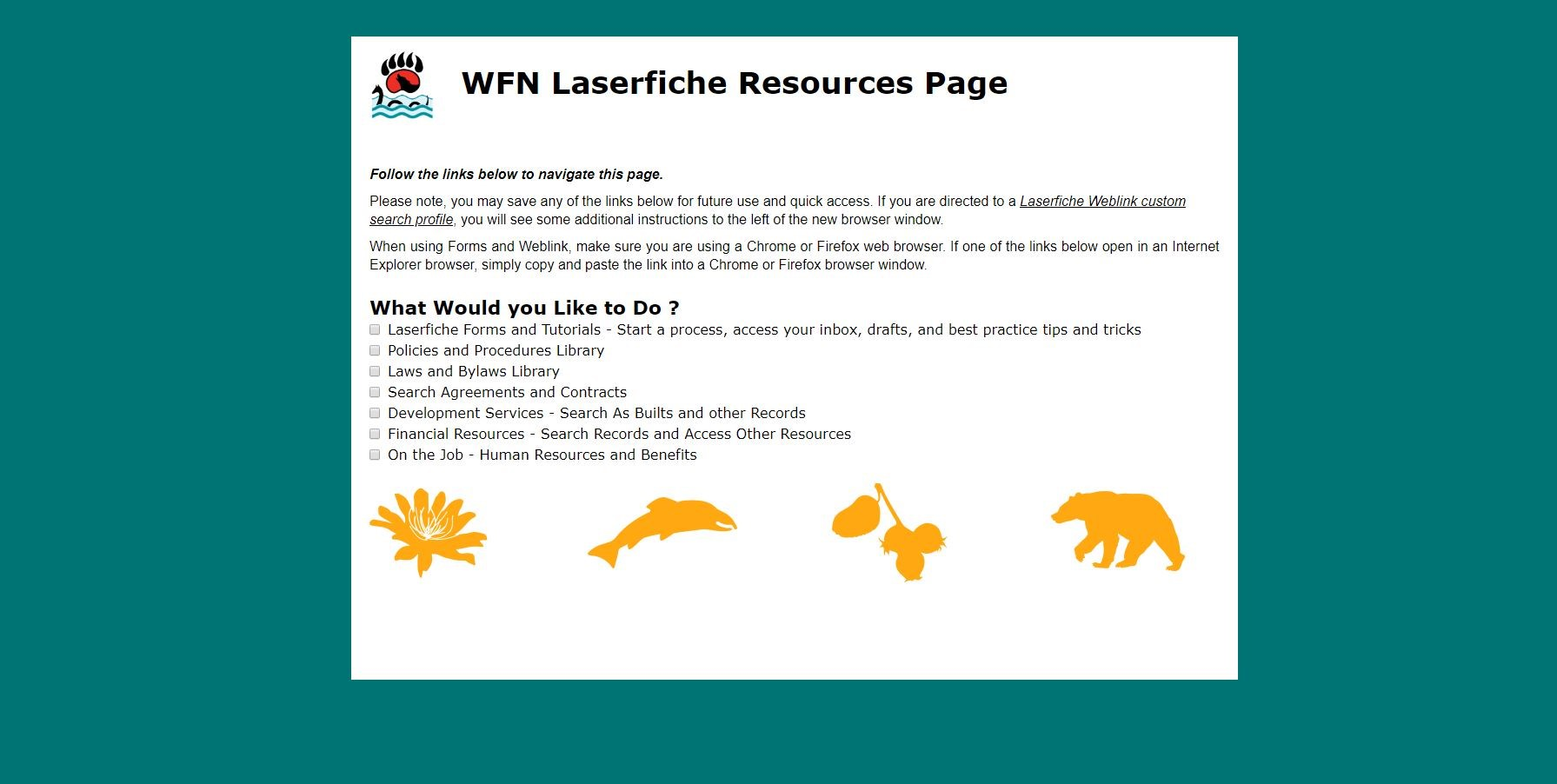 This image shows the first page of the WFN employe portal with various options that users can check