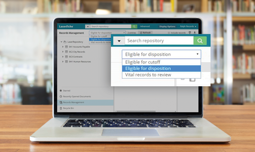 Example of a record management platform that lets users search for records by current lifecyle