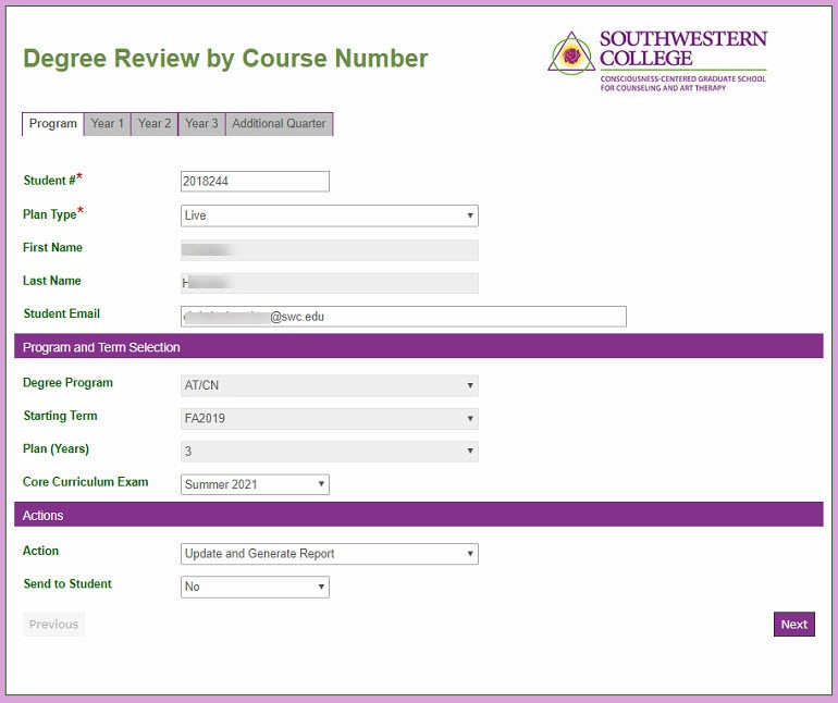 The Degree Review by Course Number Electronic Form