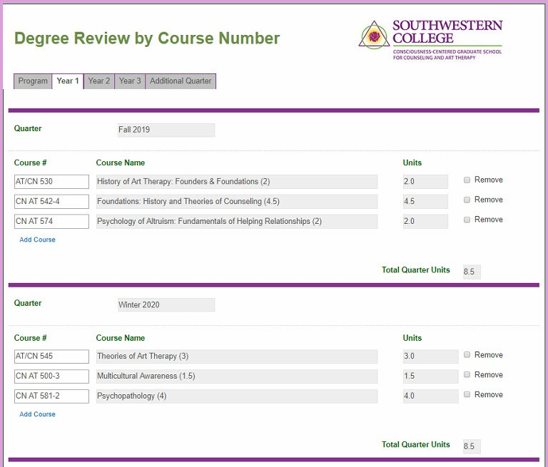 Degree Review by Course Number Form with Information Pulled from a Database