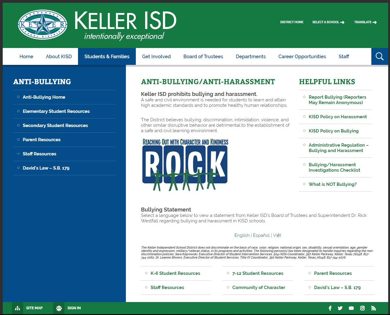 Keller ISD's website with a link to the Allegation reporting form.