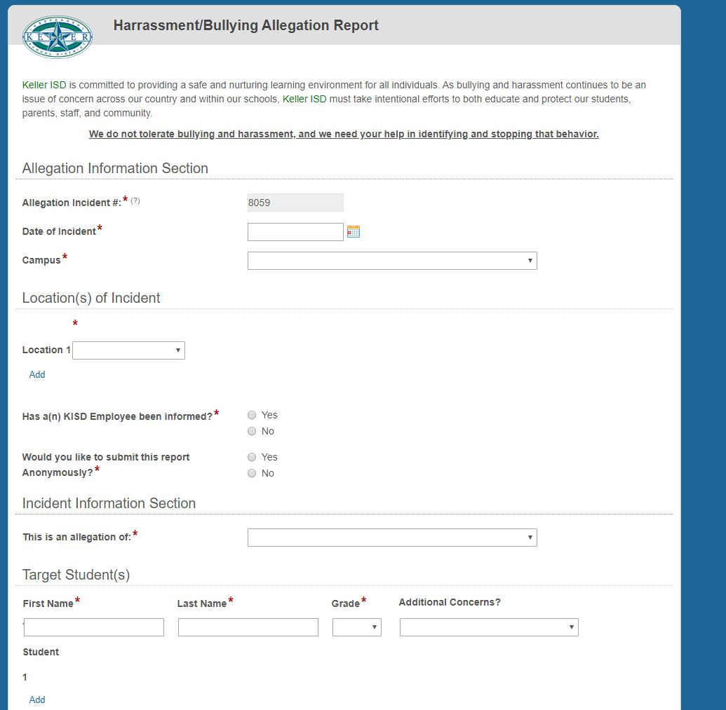 A blank electronic Allegation reporting form.