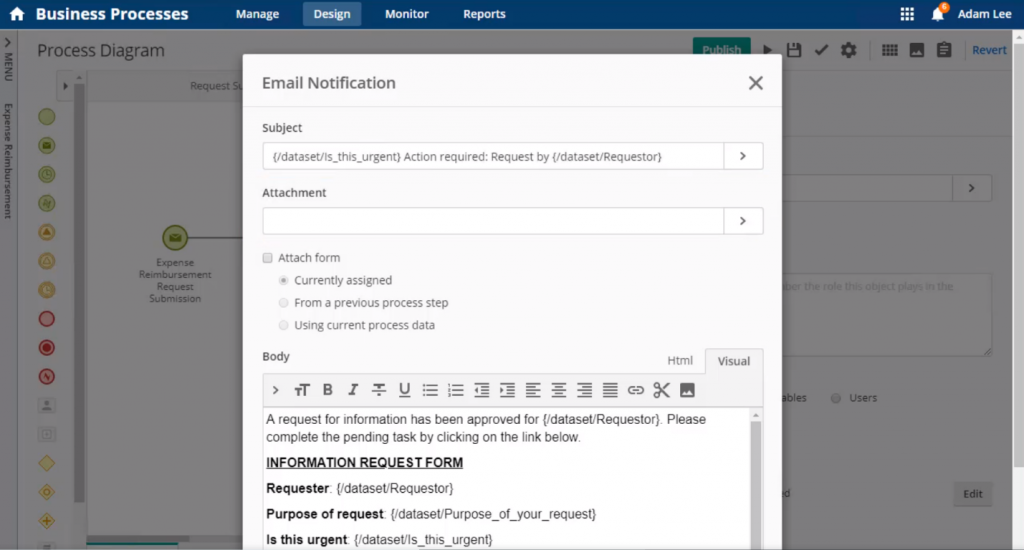 DPA software users can configure an automatic email notification to keep relevant parties informed on process status, such as when a document is approved.