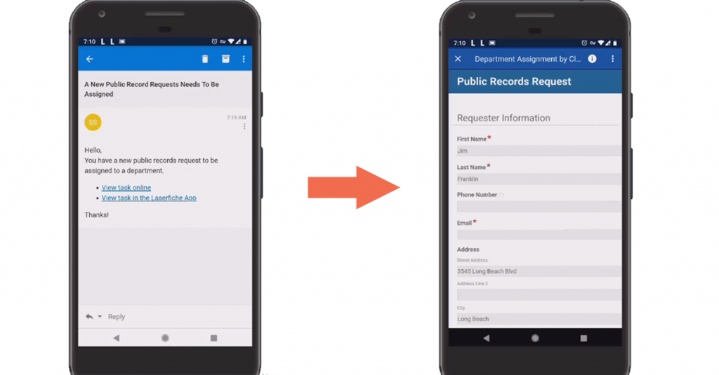 Remote users can access and complete tasks such as digital form submissions directly from their mobile devices.