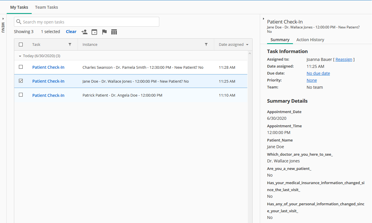 The Forms Inbox contains tasks to check in patients.
