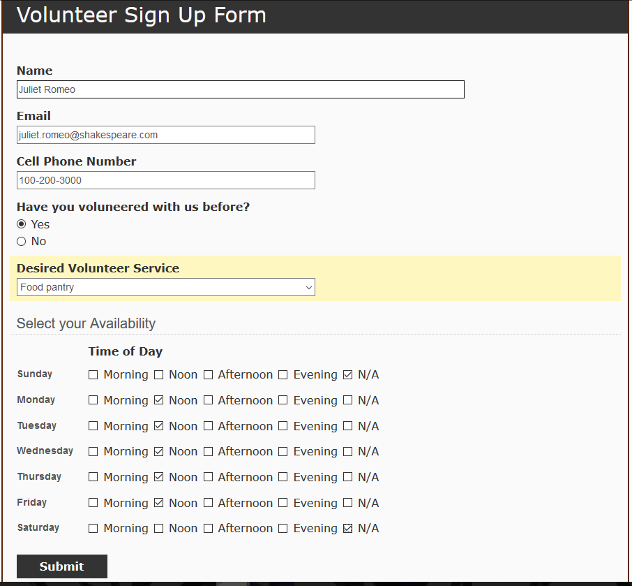 Volunteers sign up for a shift by filling out an electronic form