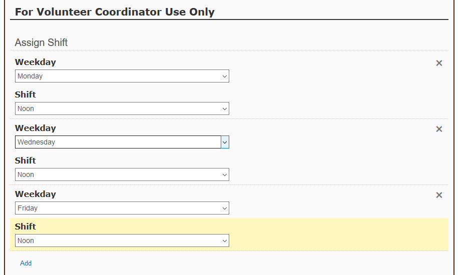 Volunteer coordinator fills out more fields in a form to assign a volunteer to one or more shifts.
