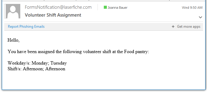 Email notification to volunteer listing the assigned shifts.