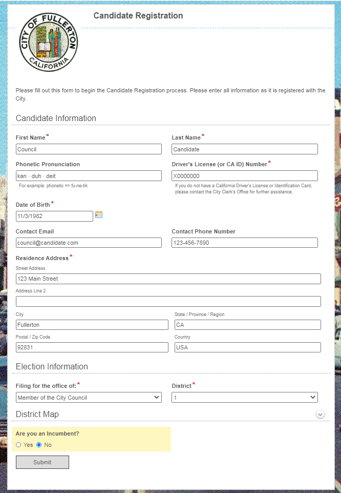 An electronic candidate registration form