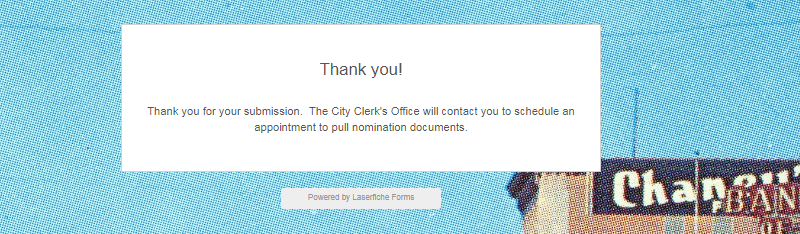 Confirmation page that appears after submitting a form