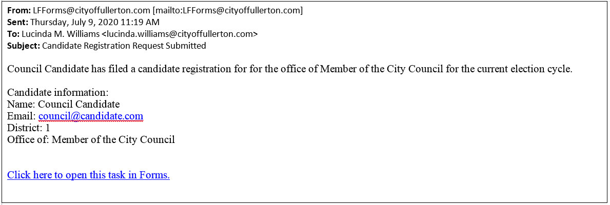 Email confirming the filing of candidate registration