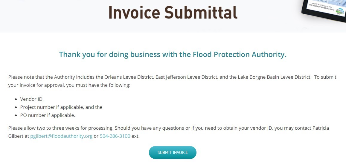 Invoice Submittal online portal