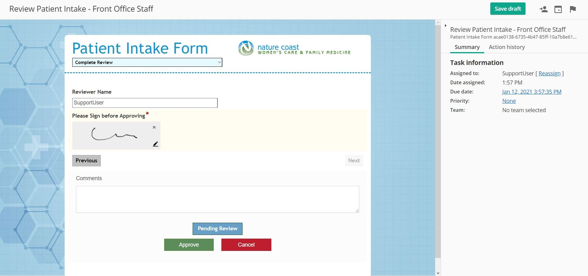 The digital form that a staff member fills out.